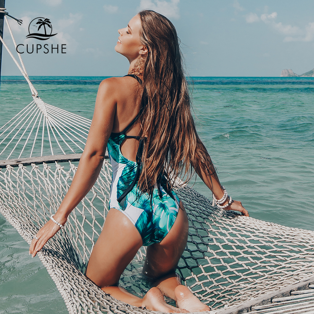Image 3 - CUPSHE Green Leaf Print Cross One piece Swimsuit Women Ruched Tied Monokini Swimwear 2020 Girl Beach Bathing SuitsBody Suits   -