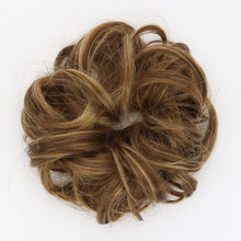 Hair Bun Extension Curly Synthetic Chignon Hairpiece 6'' Brown Hair Buns For Women High Temperature Fiber Haar Knot 16 Clolor(China)