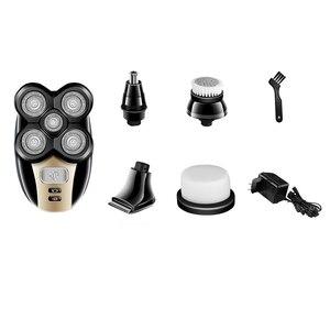 Image 2 - Kemei Afeitadora eléctrica multifunción 5 en 1 para hombre, afeitadora con 5 cabezales, afeitadora para nariz, oreja, pelo, Barba, máquina de corte calva lavable