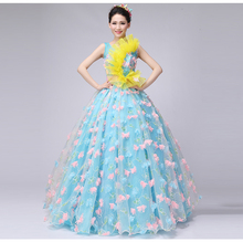 100%real blue flower petal pink embroidery ball gown royal medieval dress princess Renaissance Gown queen gown Victorian dress