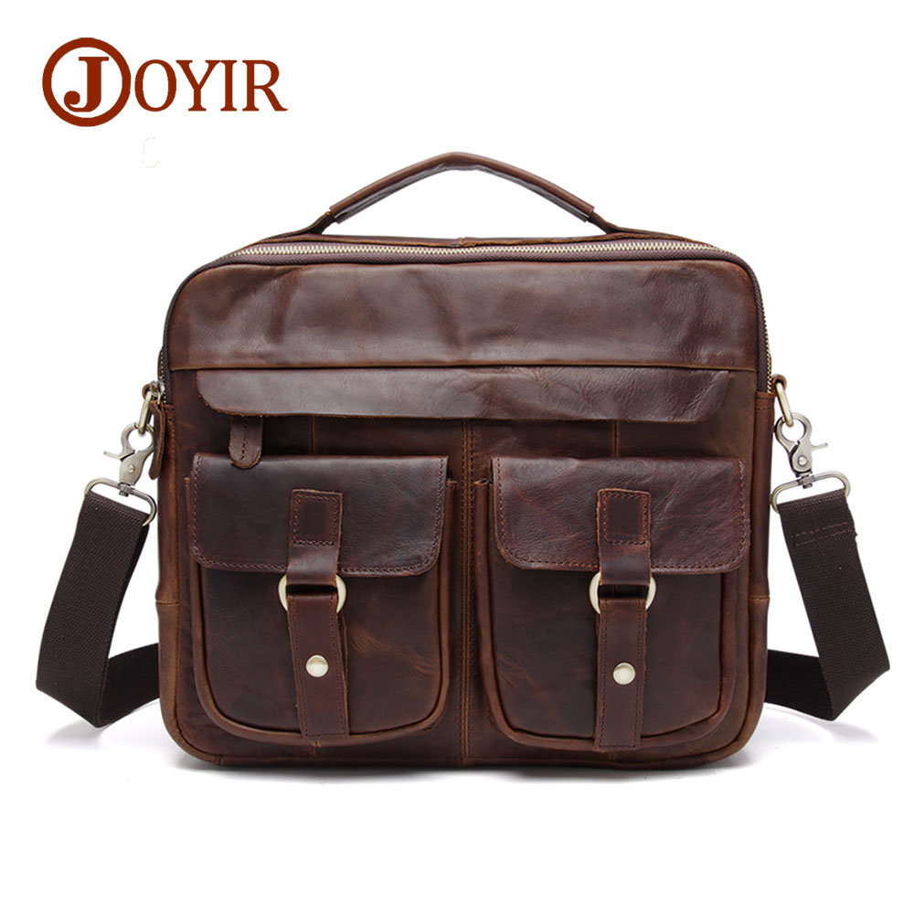 JOYIR Genuine Leather Men Bag Crazy Horse Leather Men Handbags Business Laptop Shoulder Bags Briefcase Messenger bag Gift B207 retro crazy horse cow genuine leather bags 16 inch men s shoulder bag for men briefcase real leather handbags laptop bags