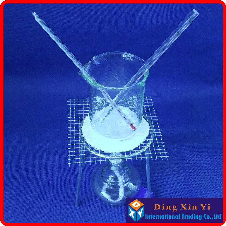 Students use the chemical experiment device Beaker+Tripod+Alcohol lamp+Stem thermometer+Glass rod,etc.(6 pieces of goods)
