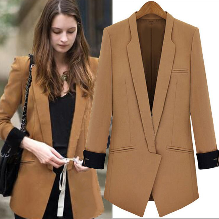 Women Blazers And Jackets 2016 Europen Fashionable Long Sleeve Hit Color Stitching Slim Small Suit Women Blazer Feminino BF379