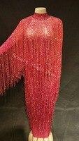 8 цветов бахромой длинное платье Вечеринка день рождения, празднование платье с кисточками для пения, танцев костюм длинное трикотажное пла