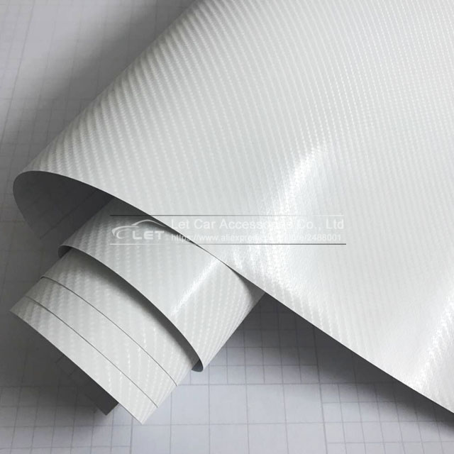 car styling new bright 5d white Carbon Fiber Vinyl film Colored Glossy Carbon Fiber Vinyl Film Auto Wrapping Vinyl Wrap Foil цена