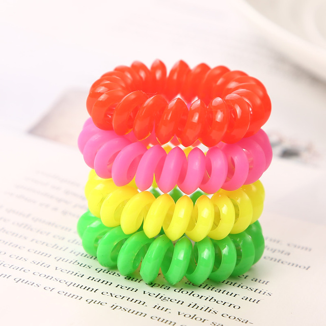 10PCS/lot 2cm Small Telephone Line Hair Ropes Girls Colorful Elastic Hair Bands Kid Ponytail Holder Tie Gum Hair Accessories 4