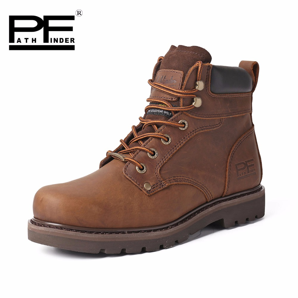 Pathfinder 2016 New Unisex Motorcycle font b Boots b font Genuine Leather Men s Ankle font