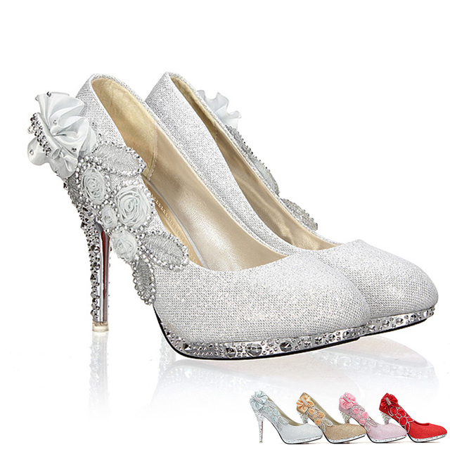 High Heels 10CM Wedding Bridal Evening Party Cinderella Shoes Women S Pumps  Fake Crystal Rose Flower 2016 931cb0b486dc