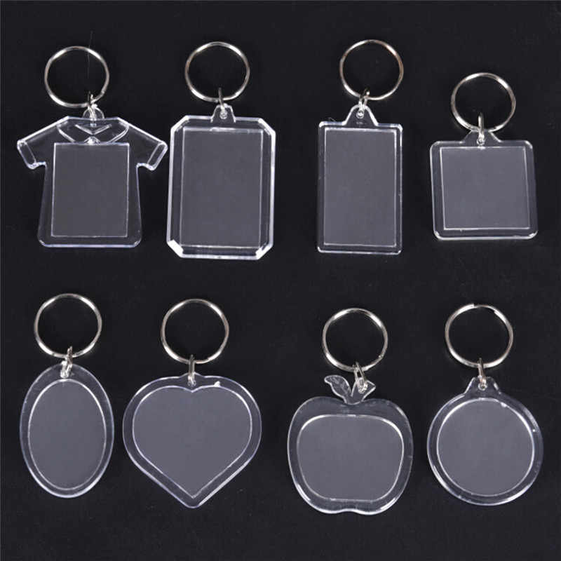 NEW 5PCs Rectangle Transparent Blank Acrylic Insert Photo Picture Frame Keyring Keychain DIY Split Ring Key Chain Gift