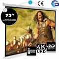 """Em venda! 72 """" 16:9 HD projetor tela de projeção elétrica com controle remoto Pantalla tela de projeção motorizada"""