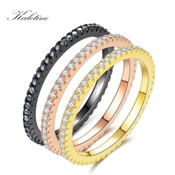 ad423b84a716 KALETINE Original de Plata de Ley 925 anillos de plata para las mujeres CZ  oro rosa oro negro boda anillo de la joyería de los hombres aliados express