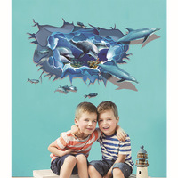 3D DIY Animal Dolphins Vinyl Wall Sticker For Kids Room Bathroom Poster Home Decor Water Proof