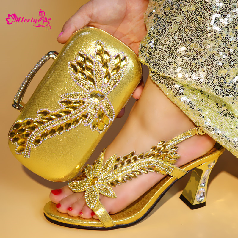 gold color Italian Shoes with Matching Bag Set Decorated with Rhinestone African Shoe and Bag Set for Party In Women Italy Shoes hot glitter italy matching shoe and bag set with shinning stones with free shipping for party in sl08 size 39 43 red