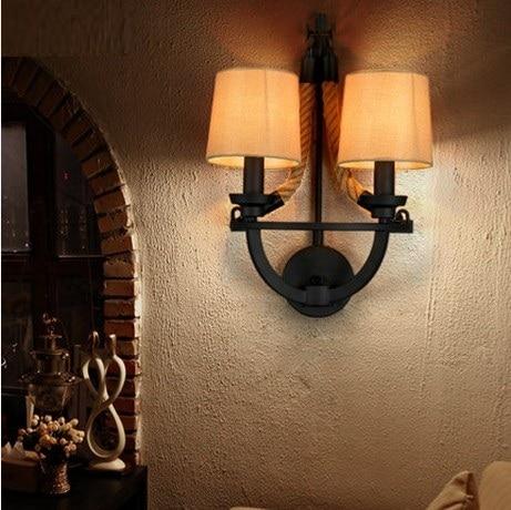 loft style corde tissu applique murale led lampe de mur de cru antique industrielle appliques. Black Bedroom Furniture Sets. Home Design Ideas