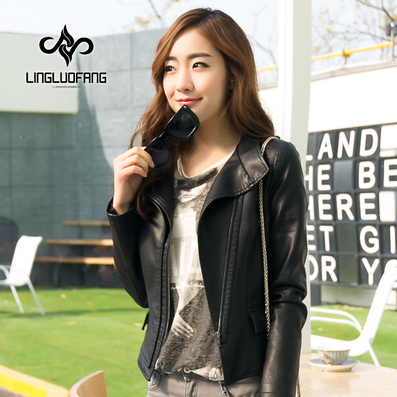 leather jacket women spring and autumn Korean Slim pu leather jacket young girls black blue motorcycle jacket size s-4xl 15H108