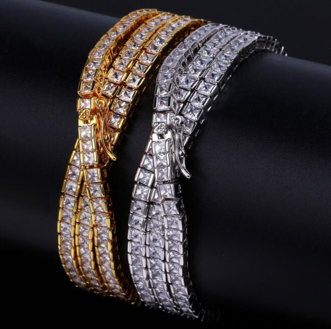 US7 Rock Miami Curb Cuban Crystal Iced Out Chain Box Necklace For Men Gold Clasp Link