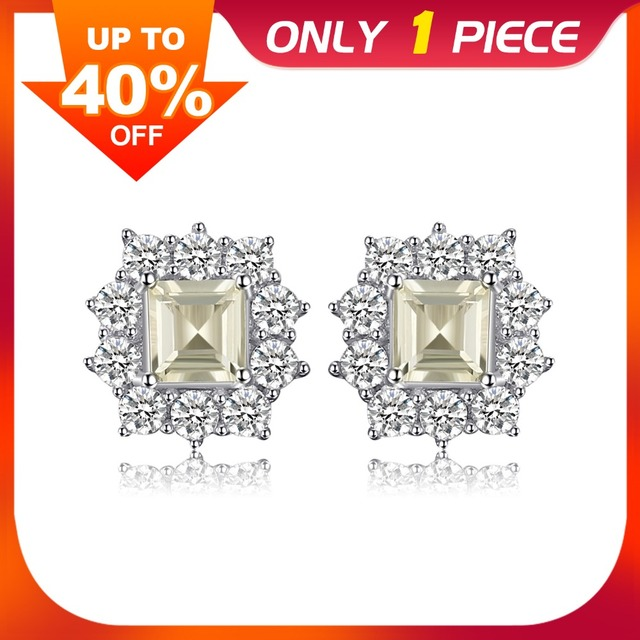 JewelryPalace Classic 1.3 ct Square Natural Lemon Quartz Stud Earrings Real 925