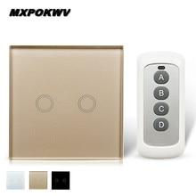 UK/EU 2 Gang 1 way Touch Switch Intelligent Universal Switch 433 Panel Wall Lamp Switch, Smart Home Automation Module Kit