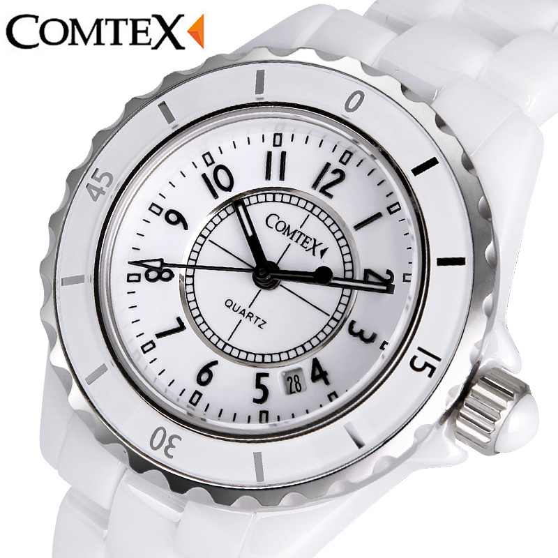 ФОТО COMTEX Fashion Women Watch luxury ladies Wristwatch Quartz Calendar dress watch Waterproof White Ceramic watches for women clock