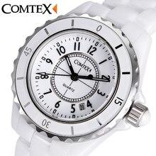 Comtex das mulheres da forma relógio de luxo senhoras vestido de relógio de pulso de quartzo calendário assistir à prova d' água relógios para as mulheres relógio de cerâmica branca