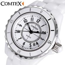 COMTEX Femmes de Montres En Céramique Blanche Montre-Bracelet À Quartz Calendrier Imperméable bandes de montre Dames robe montre pour femmes horloge reloj