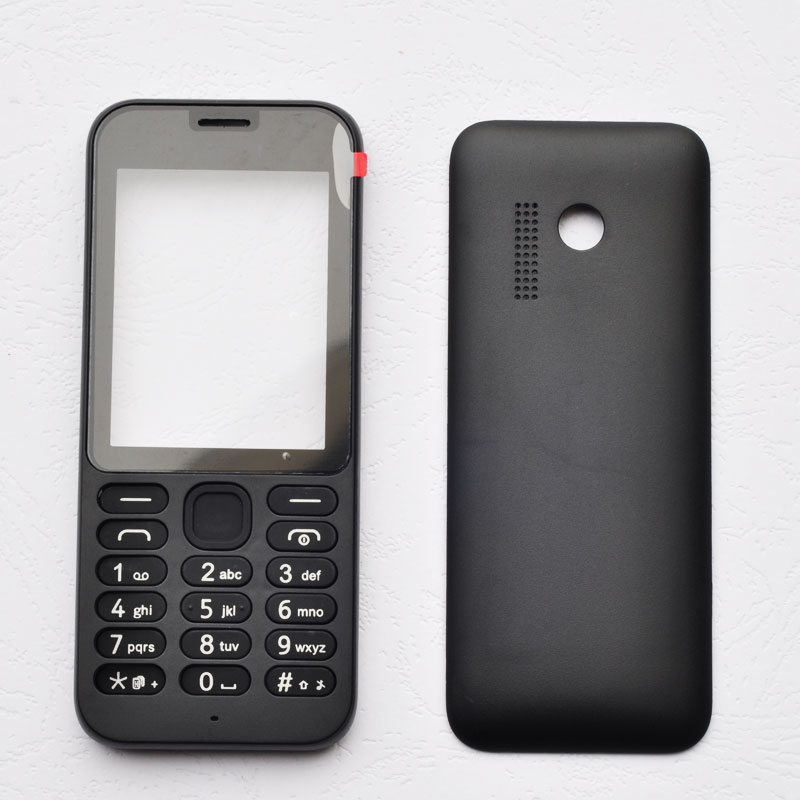 BINYEAE New Full Housing For <font><b>Nokia</b></font> <font><b>215</b></font> <font><b>Case</b></font> Cover Facing Front Frame With Key Board Display Glass+Middle Frame+Back Cover image