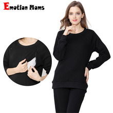 Emotion Moms Winter Maternity Clothes Suits Shirt+Pants Breastfeeding Sleepwear Set Nursing Pajamas for Pregnant Women