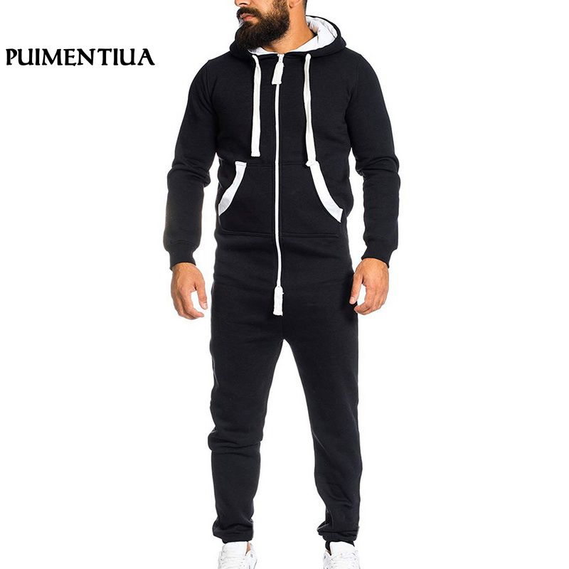 Puimentiua Men Jumpsuits Patchwork Men Sportswear Casual Loose Hooded Sports Tracksuit Pockets Long Overalls pantalon hombre big toe sandal