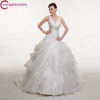 Wedding Dresses Lace Up Back White Organza Court Train Ball Gown Tiered Skirt Lace Sash Belt