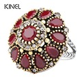 Hot 2017 Flower Crystal Wedding Rings For Women Vintage Look Round Plating Gold Mosaic Red Resin Turkey Jewelry