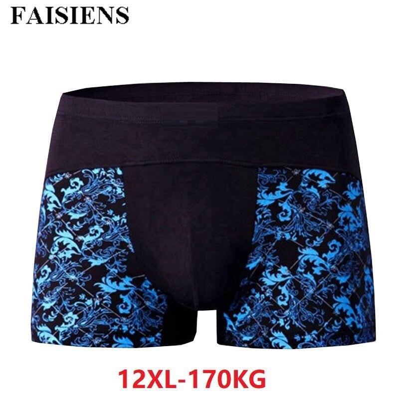 Underwear Boxer-Shorts 10XL 9XL Loose Breathable Cotton Plus 11XL 12XL Floral Elasticity