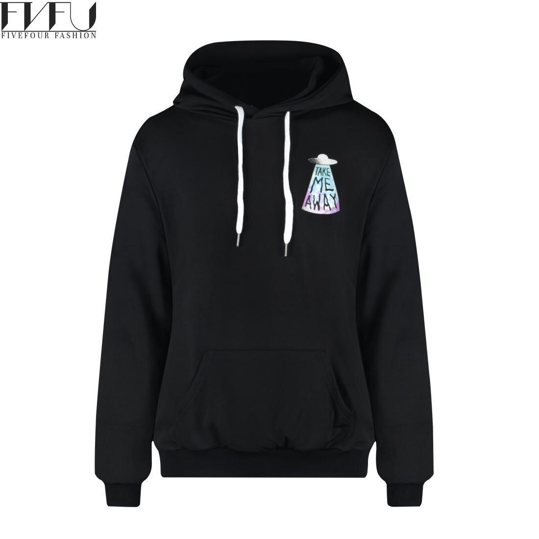 Fashion 2018 Hoodies Sweatshirt Women/men Plus Velvet Ufo Print Sweatshirt Hoodie Tops Loose Casual Black Hoodies Plus Size