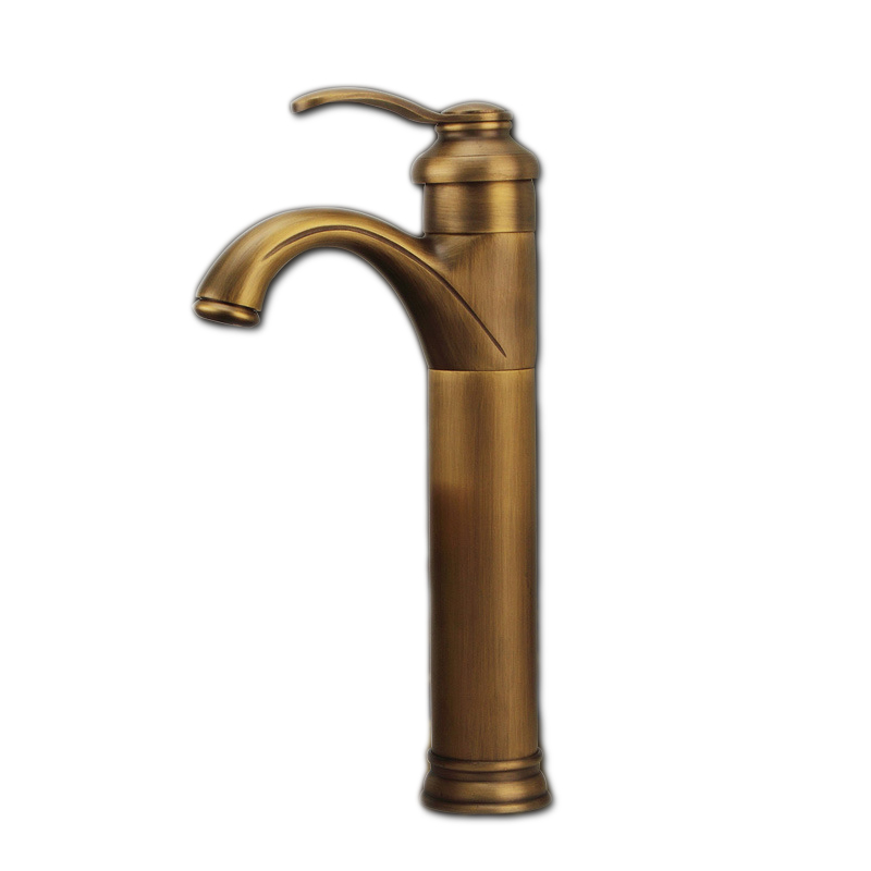 Free shipping Luxury Higher tea pot antique bathroom mixer tap with single handle solid brass bathroom basin sink water faucet brass