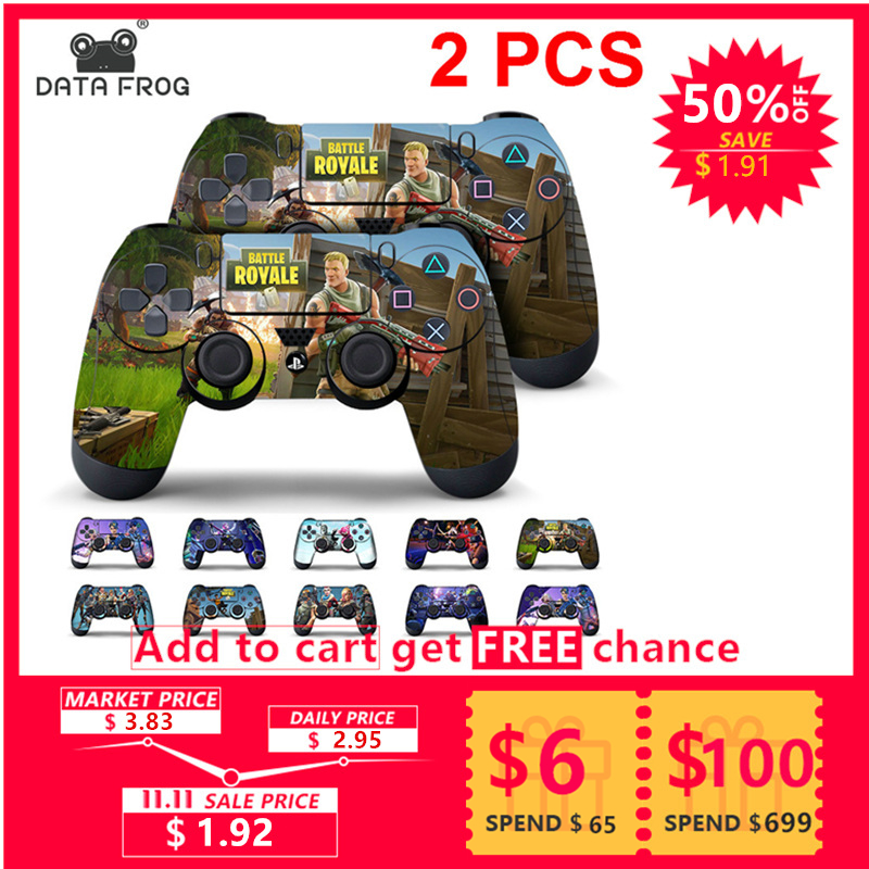 Data Frog 2Pcs For Fortress Night Sticker For Sony PlayStation4 Game Controller For PS4 Skin Stickers 11 Styles цена