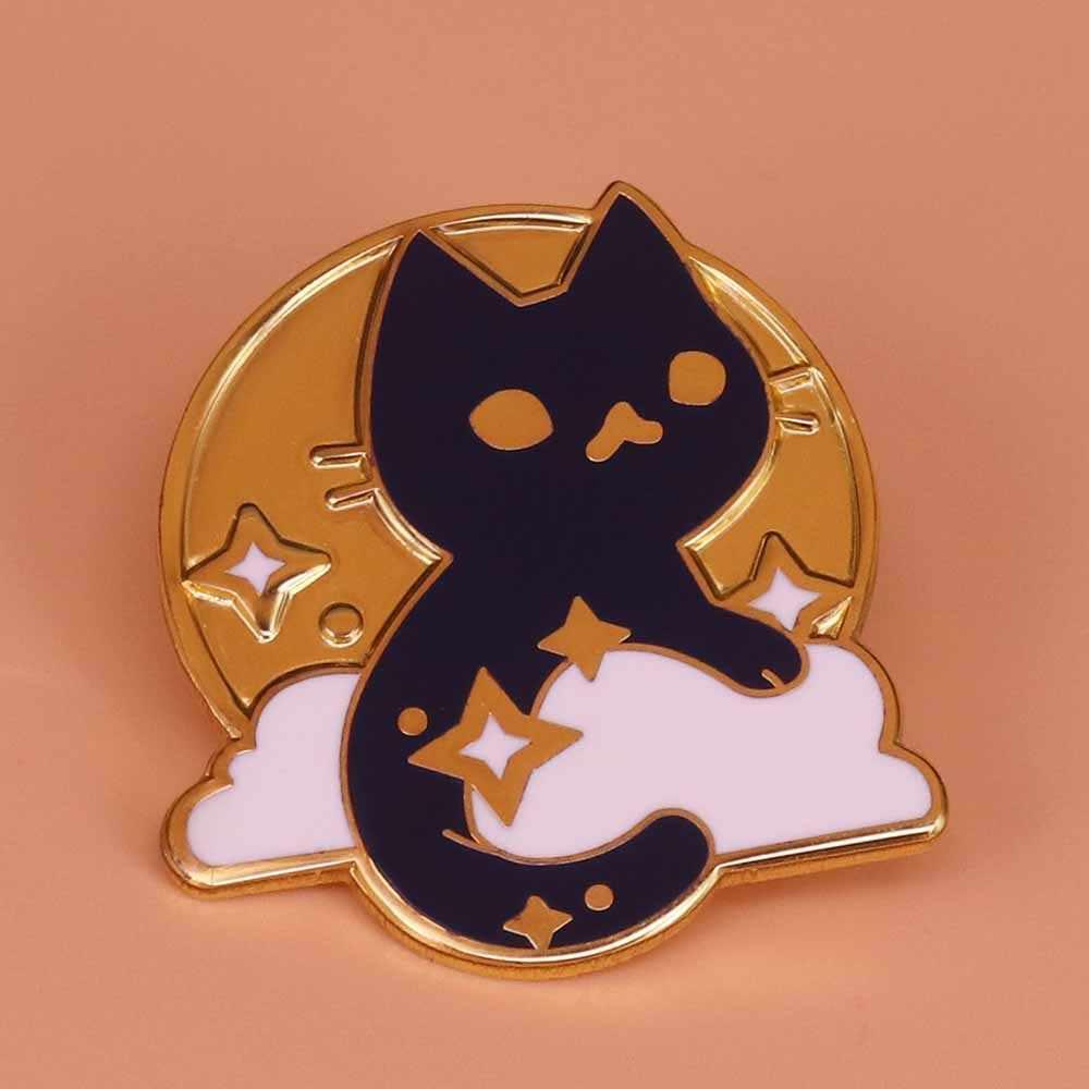 우주 고양이 브로치 공간 핀 갤럭시 배지 귀여운 동물 핀 천문학 보석 우주 비행사 선물