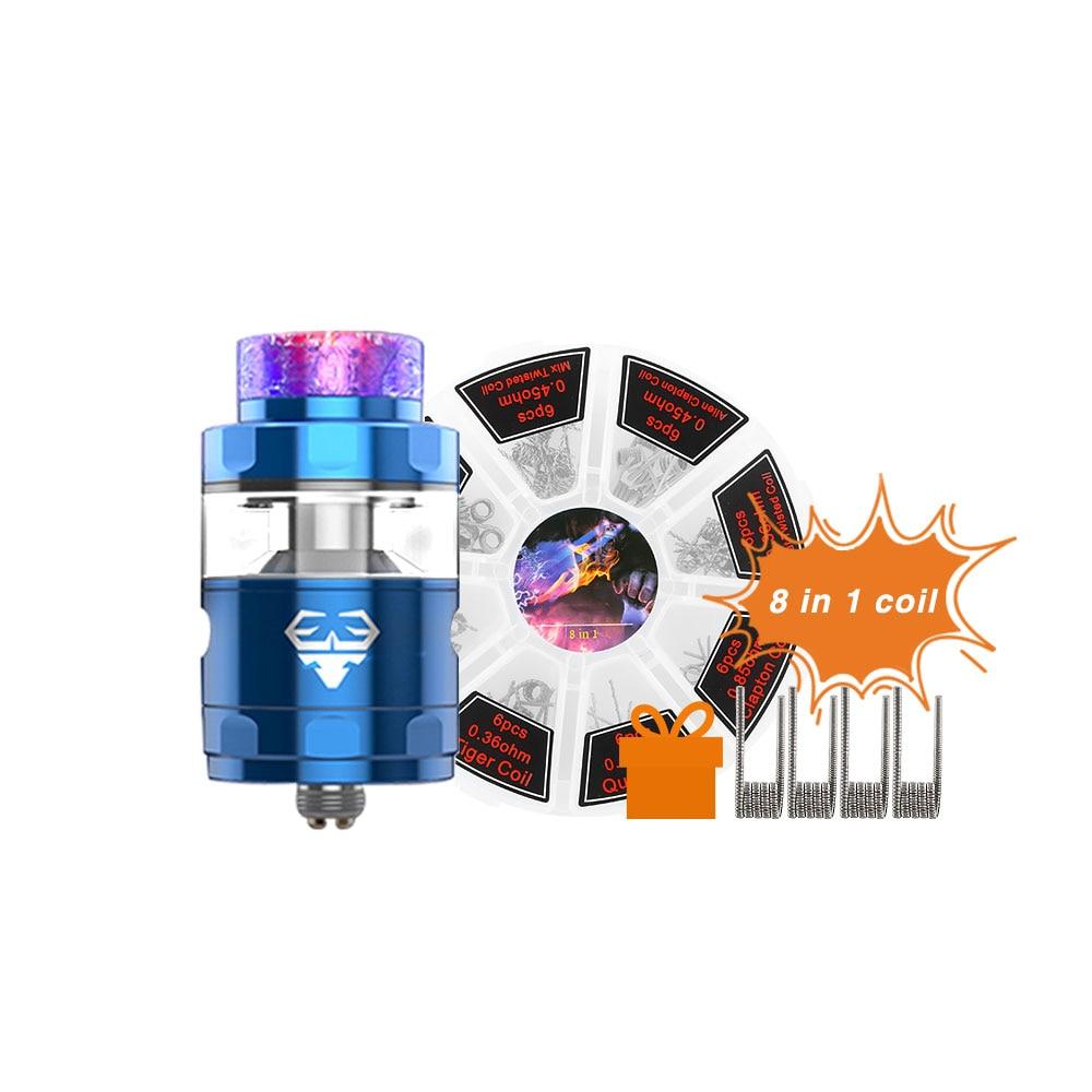 Original GeekVape Blitzen RTA Atomizador 2 ml/5 ml Capacidade 24mm Tanque de Suporte Dual & Single Coil 8 em 1 conjunto de bobinas Para Caixa de Mod e cigs
