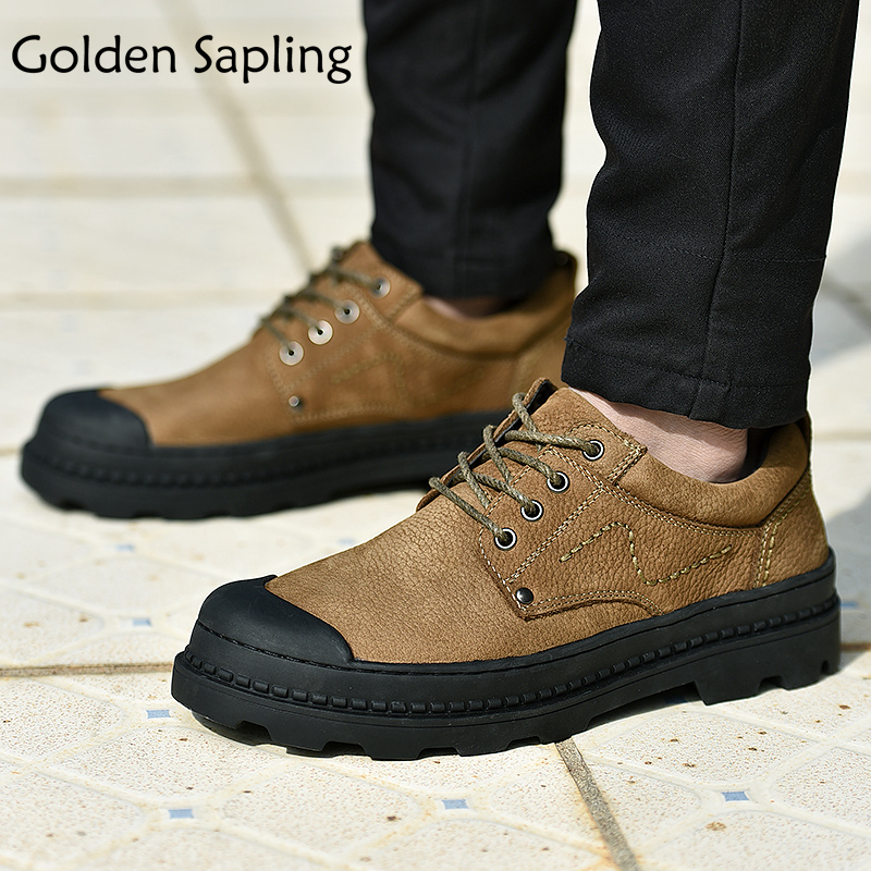 Golden Sapling Men's Sneakers Men Hiking Shoes Outdoor Trail Man Tactical Sneakers Waterproof Leather Shoes Men Sports Sneaker цена