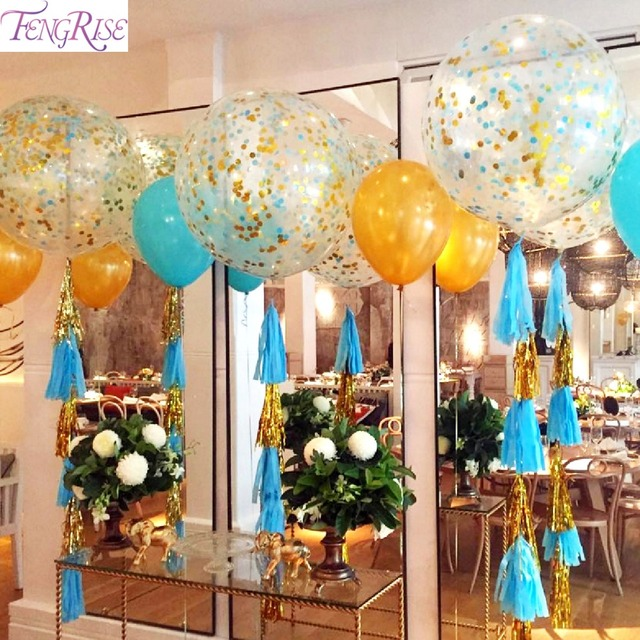 Fengrise 36 Inch Gold Silver Confetti Balloons Birthday Party