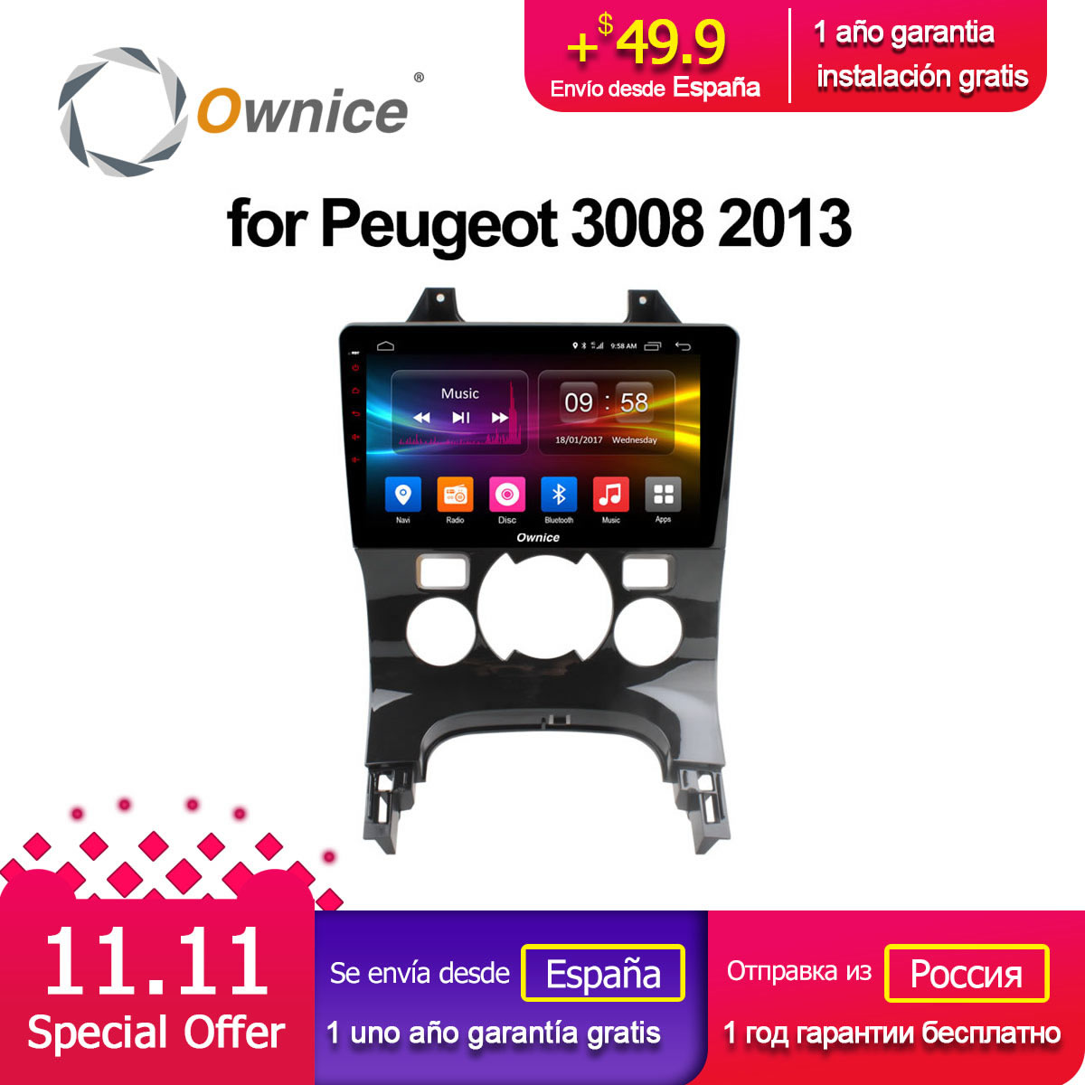 Ownice C500 G10 Android 8 1 Octa 8 Core Car DVD GPS Player Navi for Peugeot