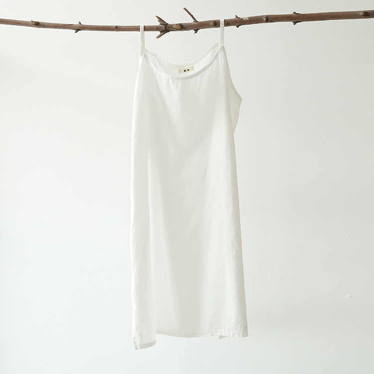 a0eaf8a574c Woman Dresses Cotton Slips Solid Camisole Women Full 100% Ladies Long Dress  Lingerie Satin Slips White Sleeveless Broadcloth