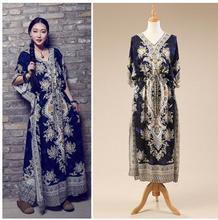 Vestidos Dark Blue/Green/Purple/Red Female Summer Boho Long Dress Casual Loose Printing Kaftan Ethnic Rayon Maxi Dresses K03