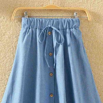 ROPALIA Vintage Retro High Waist Pleated Midi Skirt Fashion Women Skirt Denim Single Breasted Skirt 8