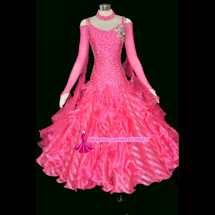 Ballroom dance costume sexy spandex long sleeves ballroom dress for women competition dresses