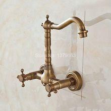 Античная латунь настенный двойной крест ручки поворотным носик Кухня раковина Ванная комната смеситель холодной и горячей смеситель aan024