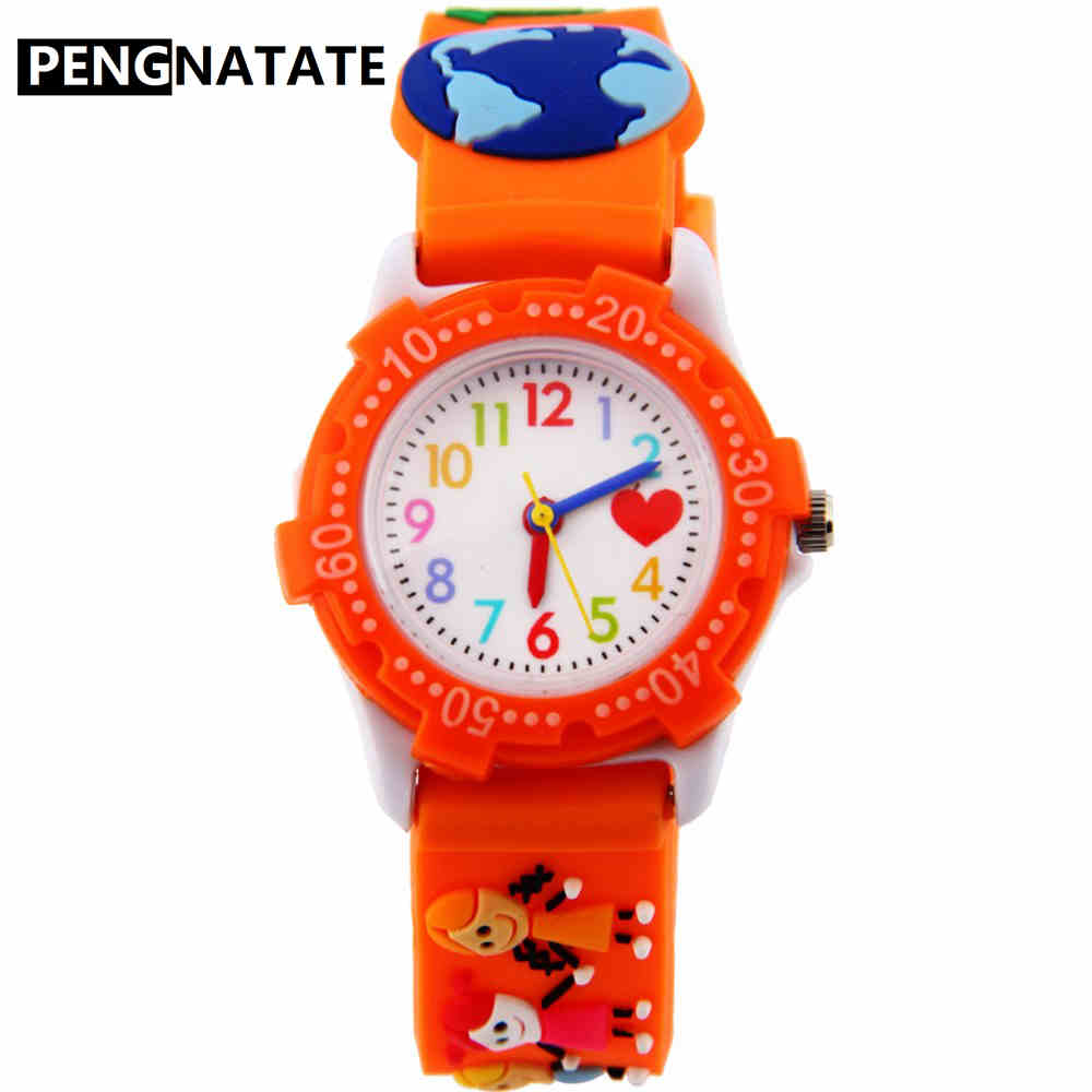 PENGNATATE Children Cartoon Watches Fashion 3D Mini Strap Silicone Watch for Boys Girls Cute Gift Bracelet Wristwatch Kids Clock trendy slimming round neck short sleeves button design solid color t shirt for men