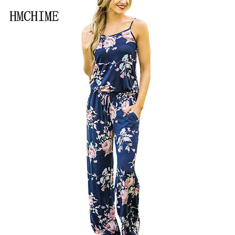 Plus Size S-3xl Women Jumpsuits Print Floral Loose Braces Rompers Sleeveless Backless Female Bodysuits 5 Color Playsuits ZB-E037