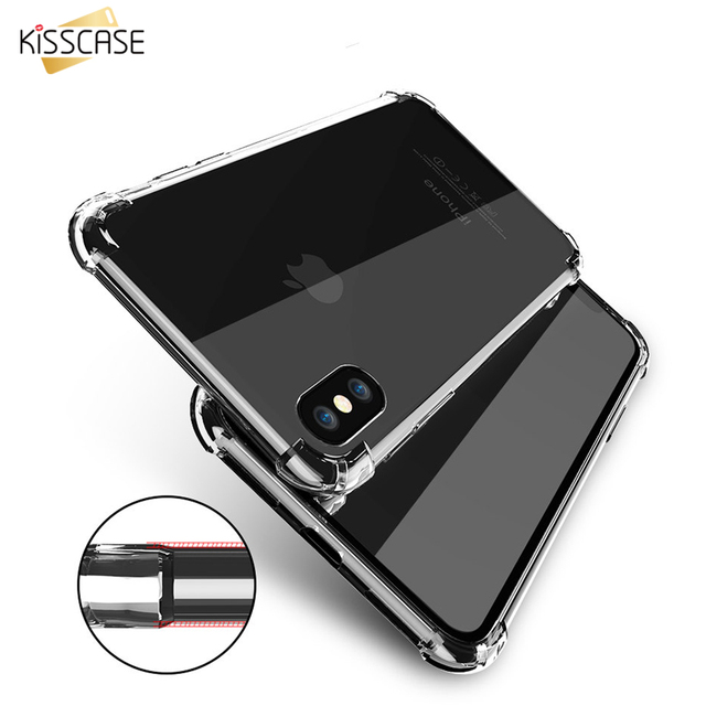 KISSCASE Shockproof Case For iPhone XS Max XR Clear Anti-knock Soft TPU  Cases For iPhone 6S 6 7 8 Plus 5S 5 SE X 10 Phone Shell 3173bae1cc9
