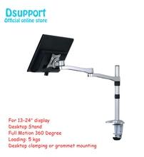 "Aluminium Desktop Monitor Mount Arm Full Motion 360 Graden 13 24 ""LCD LED Monitor Houder Laden 5kgs zilver"
