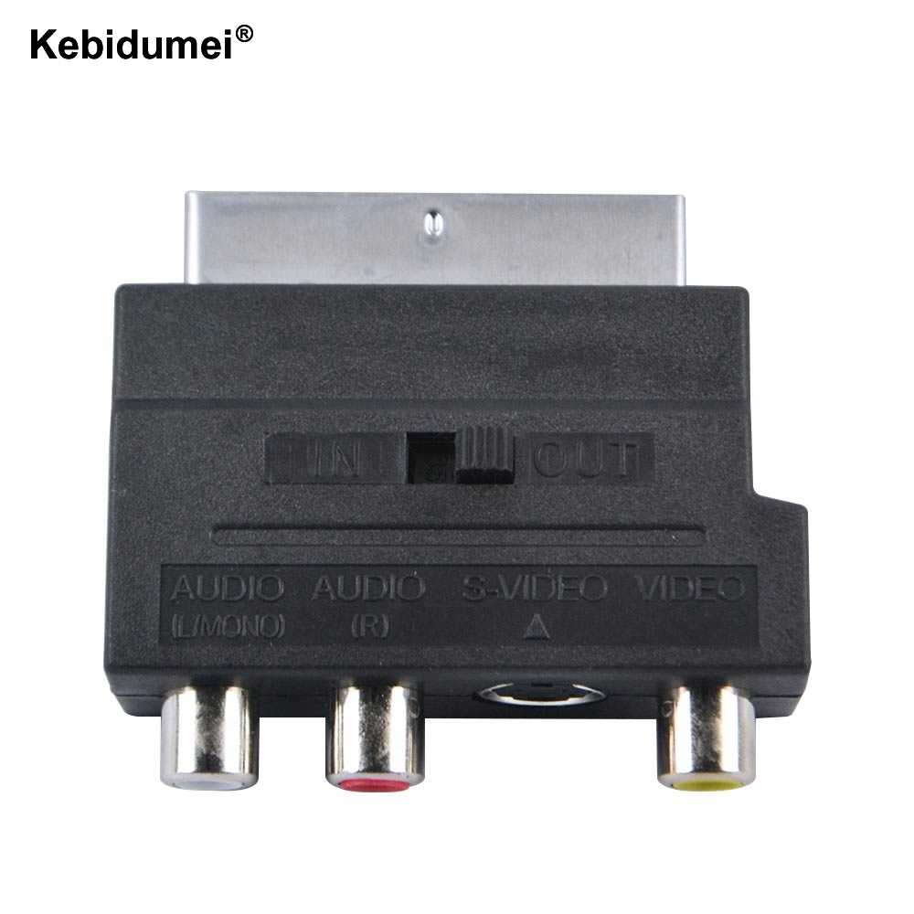 Kebidumei 2016 Jual Panas RGB Scart untuk Komposit RCA S-video AV TV Audio Adapter