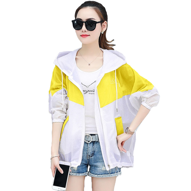 Fashion Summer Sun protection Thin   Trench   Coat Women Short Coat Hooded Tops Plus size Casual Anti-UV Windbreaker Female A2866